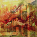 "Port Hope Viaduct 1, acrylic on canvas, 12"" x 12"", 2010, SOLD by Pat Stanley"